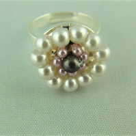 Lilac and Mauve Pearl Beaded Ladies Adjustable Statement Ring