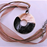 Chocolate and Cream Mother of Pearl Pendant Necklace on a Ribbon Necklace