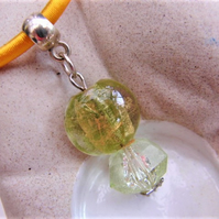Lemon and Lime Beaded Pendant on a Yellow Silk Necklace