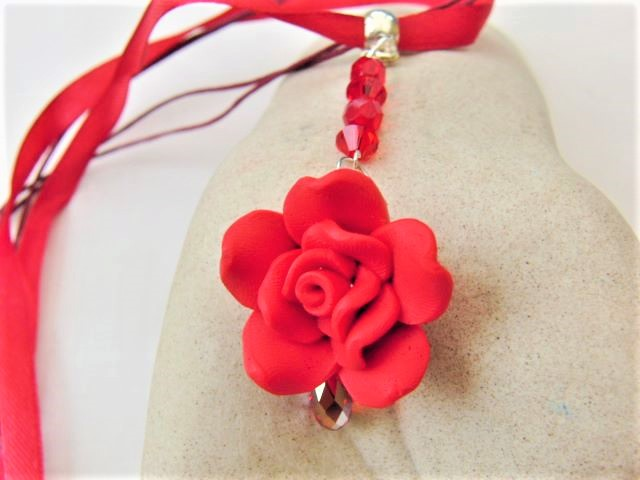 Rose and Crystal Pendant Necklace, Rose Necklace, Rose Pendant, Floral Necklace