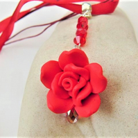 SALE - Rose and Crystal Pendant Necklace, Rose Necklace, Rose Pendant