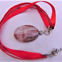 Large Oval Pink Quartz Pendant on a Red Ribbon and Waxed Cord Necklace