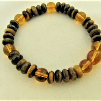 Stretch Bracelet Made With Tigers Eye Rondelle Beads and Topaz Glass Beads