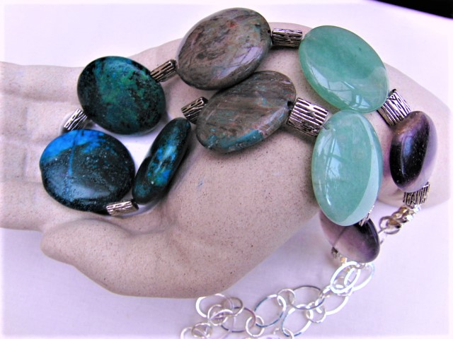 Semi Precious Necklace made with Jasper Jade & Fluorite Coin Beads