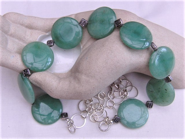 Semi Precious Necklace made with Jade Coin Beads & Silver Spacers