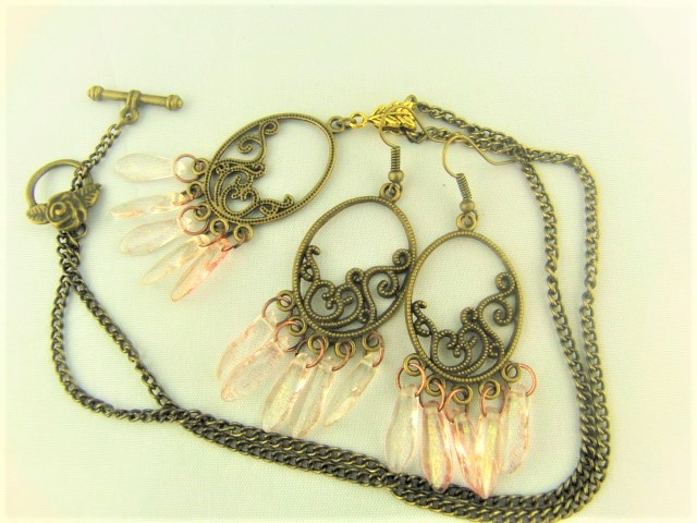 Bronze Plated Chandelier Pendant and Earrings Set with Pink Picasso Dagger Beads
