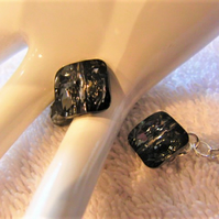 Cuff Links Made With Silver Night Square Swarovski Crystal Buttons