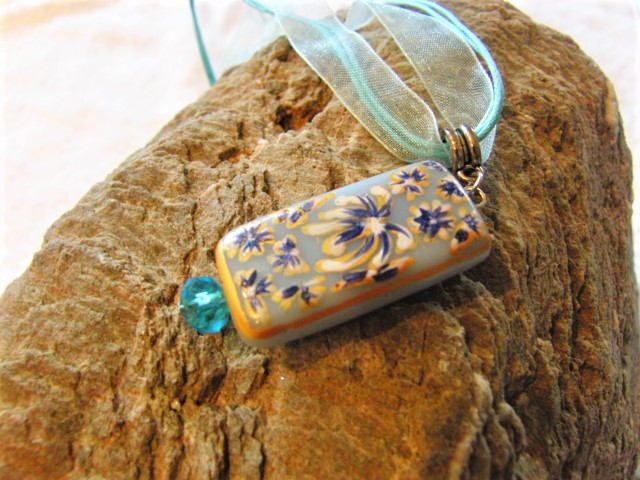 Pale Blue Rectangular Glass Pendant Necklace with Painted Blue & White Flower