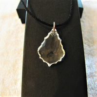 Clear Crystal Baroque Style Pendant on a Black Waxed Cord Necklace