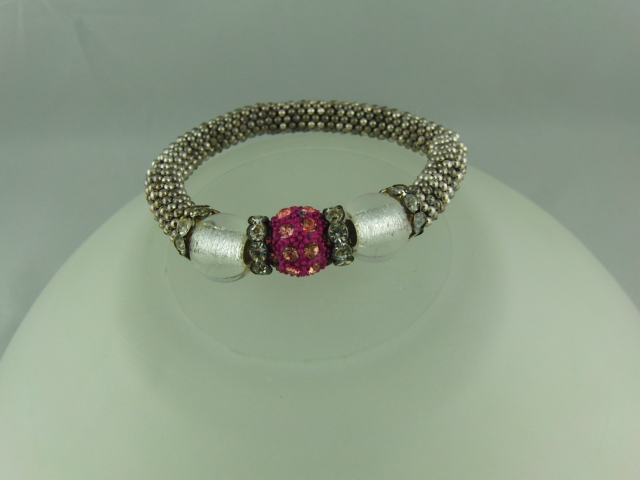 Pink Shamballa Bead Clear Bead and Crystal Rondelle Snowflake Bracelet