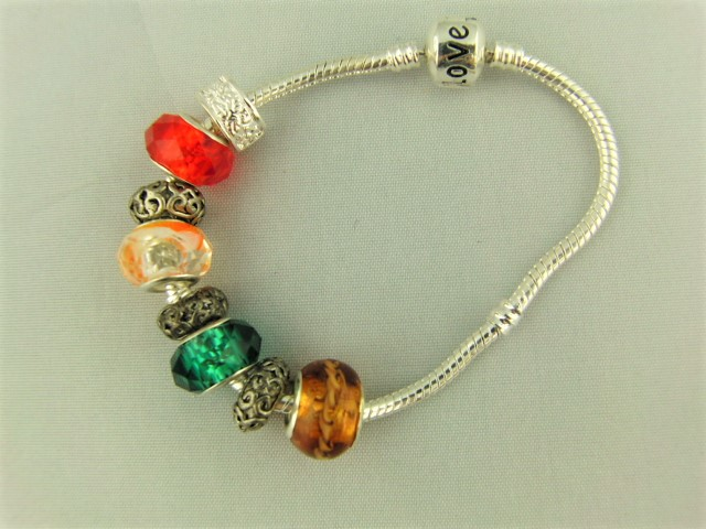 Topaz Green Clear Red European Lampwork Bead Bracelet with Silver Plated Spacers