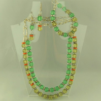 Lemon and Lime Crystal and Silver Chain Jewellery Set