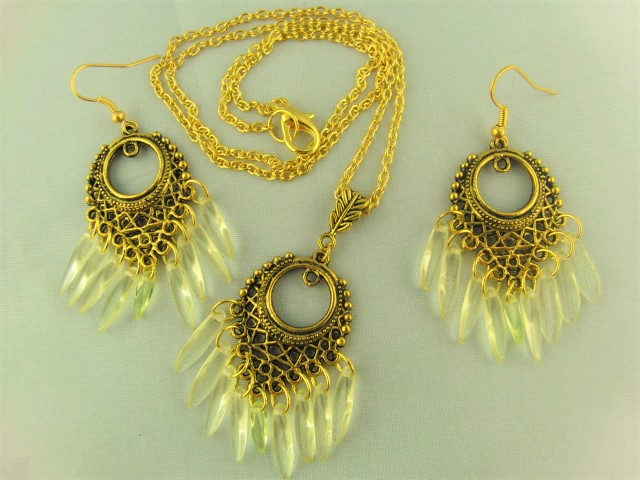 Chandelier Necklace and Earrings Set Gold Plated with Yellow Dagger Beads