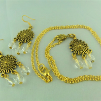 Gold Plated Round Chandelier Necklace and Earrings Set with White Crystal Beads