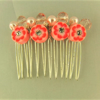 Pink Floral Disc Bridal Hair Comb with Purple Pearls
