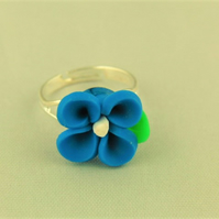 Adjustable Ladies Blue Flower Statement Ring