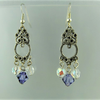 Silver Chandelier Earrings with Purple and White Crystal Beads