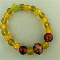Shades of Brown Topaz and Yellow Beaded Stretch Bracelet