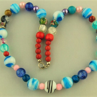 Shades of Blue and Red Glass Bead Mixture Necklace