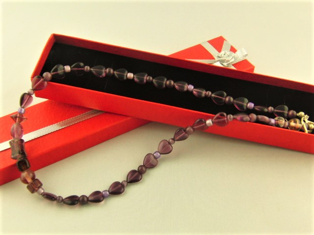 Purple Beaded Necklace with Heart Beads
