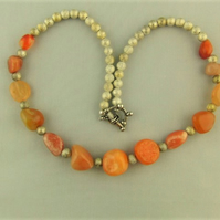 Pale Red Carnelian Nugget Bead Necklace with Silver and Gold Stardust Beads