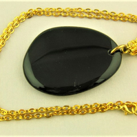 Large Black Stone Pendant with Gold Chain