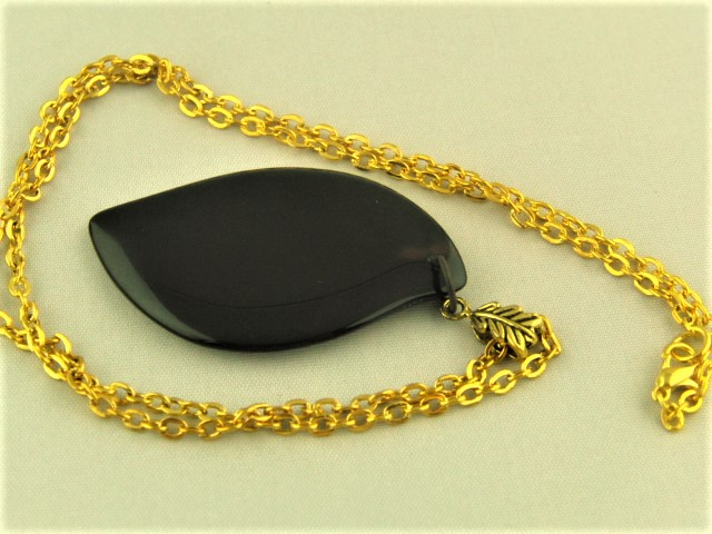 Large Black Opaque Leaf Shaped Glass Pendant with Gold Chain