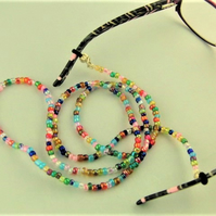 Beaded Glasses Cord made using Multi Coloured Small Glass Beads