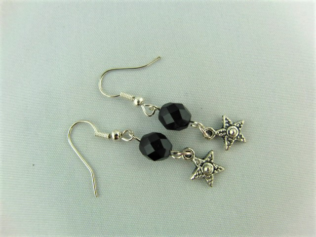 Black Crystal Earrings with a Silver Plated Star Charm for Pierced Ears