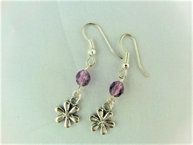 Lilac Crystal Earrings with a Silver Plated Flower Charm for Pierced Ears