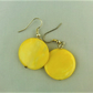Yellow Disc Bead Earrings for Pierced Ears