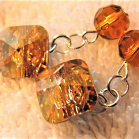 Cuff Links Made With Golden Shdow Square Swarovski Crystal Buttons