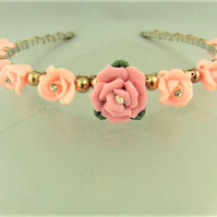 Pink Roses with Rhinestone Centres with Gold and Bronze Pearls Head Band