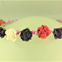 Pink Purple and White Rose Wedding Head Band with Pink and Purple Pearls