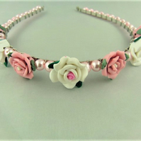 Pink and White Rose Wedding Head Band with Pink  Pearl Beads