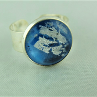 Ladies Adjustable Statement Ring With A Blue Dragons Eye Cabochon