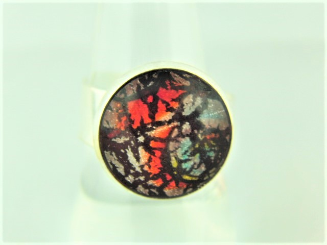 Ladies Adjustable Statement Ring with a Red Dragons Eye Cabochon