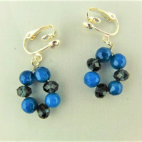 Silver Plated Clip On Earrings with Navy and Cobalt Blue Faceted Beads