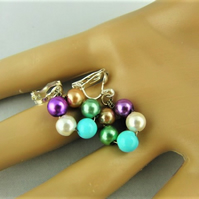 Purple Bronze Green Blue Cream and Purple Pearl Silver Plated Clip On Earrings