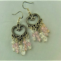 Silver Chandelier Earrings with Pink and Clear Crystals and a Butterfly Crystal