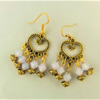 Gold Chandelier Earrings with Pink Crystal Beads Gold Spacer Beads