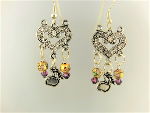 Heart Chandelier Earrings with Cloisonne Beads Crystals and a Silver Apple Charm