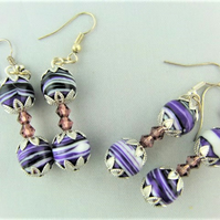 Purple Agate Bead and Two Lilac Crystal Bead Earrings for Pierced Ears