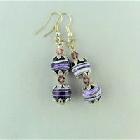 Purple Agate Bead Earrings With A Lilac Crystal at the Centre And The Top