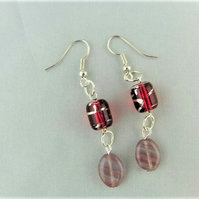 Pink Opaline Oval beads with Red Glass Tube Bead Earrings for Pierced Ears