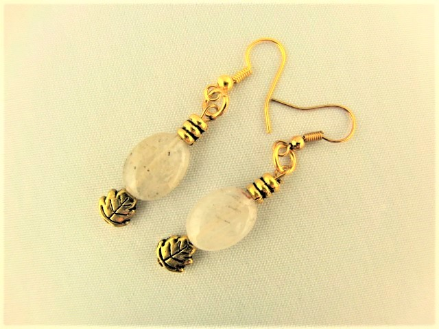 White Opaque Opaline Oval beads with Gold Plated Spacer Beads Earrings