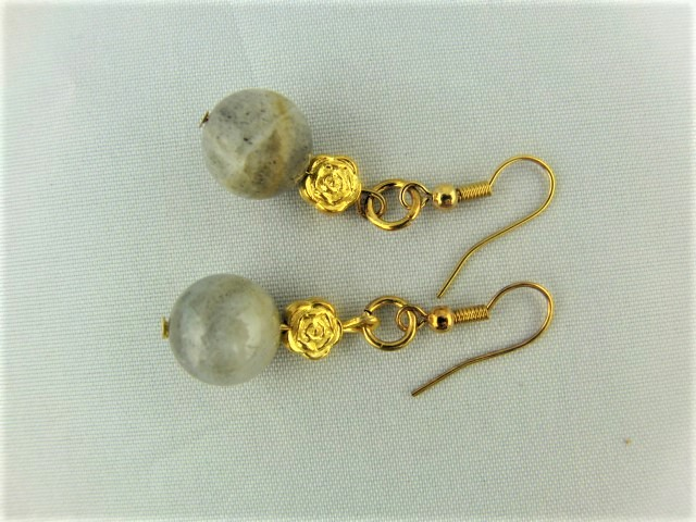 Round Grey Agate Bead Earrings for Pierced Ears with Gold Plated Flower Bead