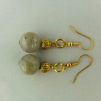 Earrings for Pierced Ears Made Using Round Grey Agate Bead with Gold Plated Rose