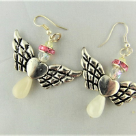 Pink Crystal and Silver Angel Earrings for Pierced Ears