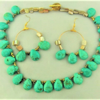 Turquoise Teardrop Bead Paua Shell Bead and Gold Dragonfly Spacers Jewellery Set